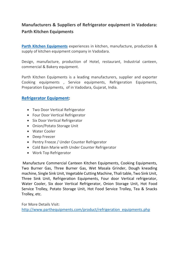 PPT - Manufacturers & Suppliers of Refrigerator equipment in