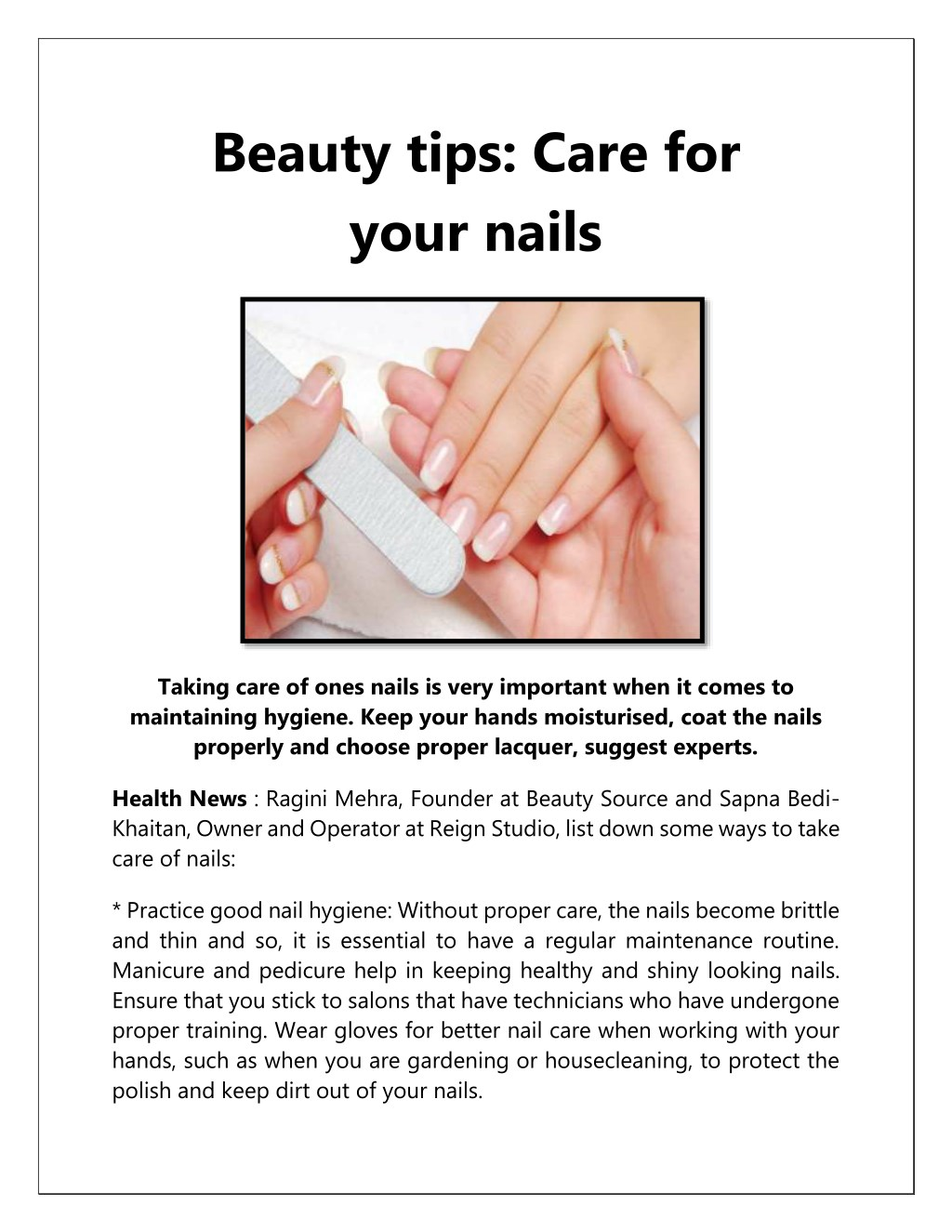 PPT - Beauty Tips Care for Your Nails PowerPoint Presentation