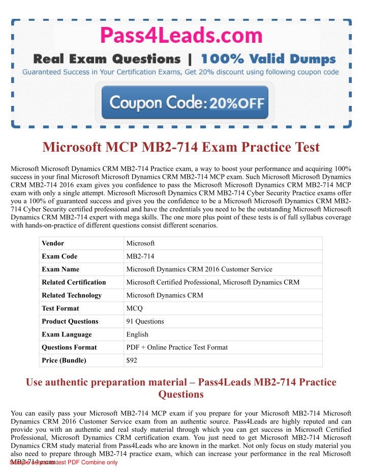 Ppt How Can I Pass Dynamics Crm Mb2 714 Exam In First Attempt