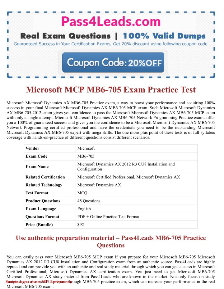 PPT - Real & Latest Microsoft MCP MB6-705 Exam PDF Dumps