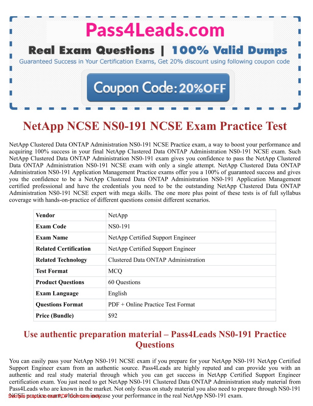 Ppt Netapp Ns0 191 Ncse Exam Practice Questions 2018 Updated