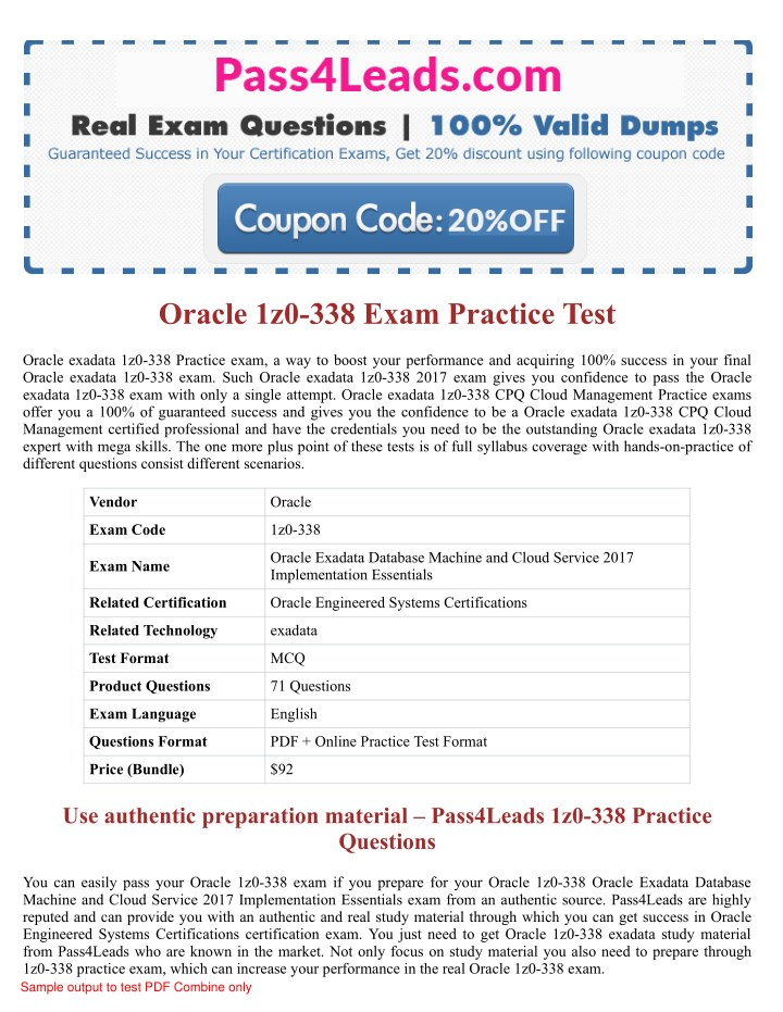 PPT - 2018 Updated 1z0-338 Exam Practice Questions