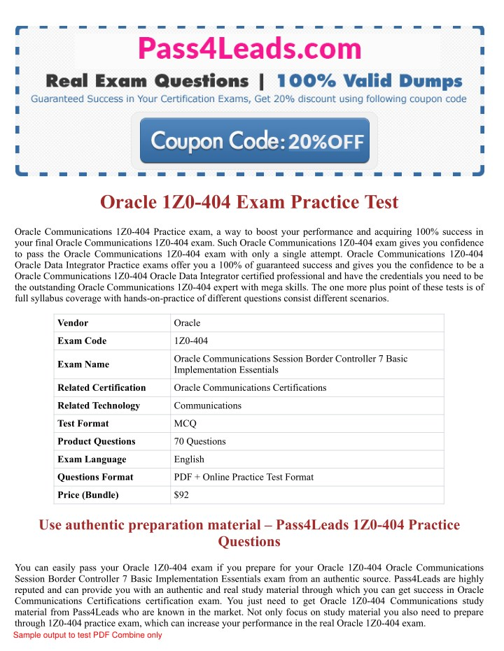 PPT - Oracle 1Z0-404 Exam Practice Questions - 2018 Updated