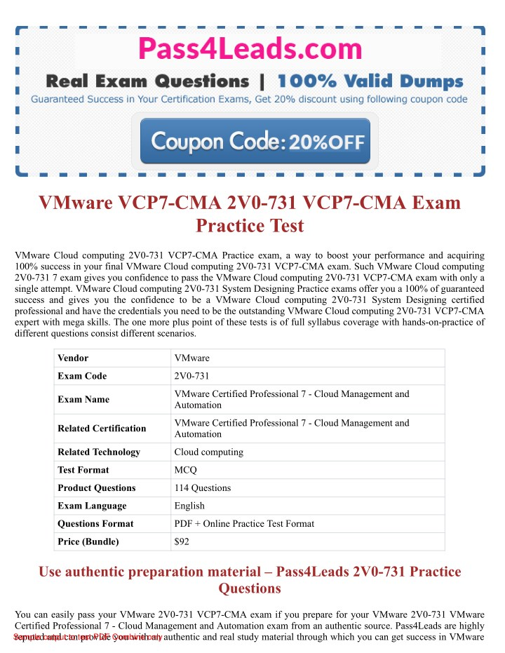 Ppt 2v0 731 Exam Practice Test Online 2018 Updated With 30