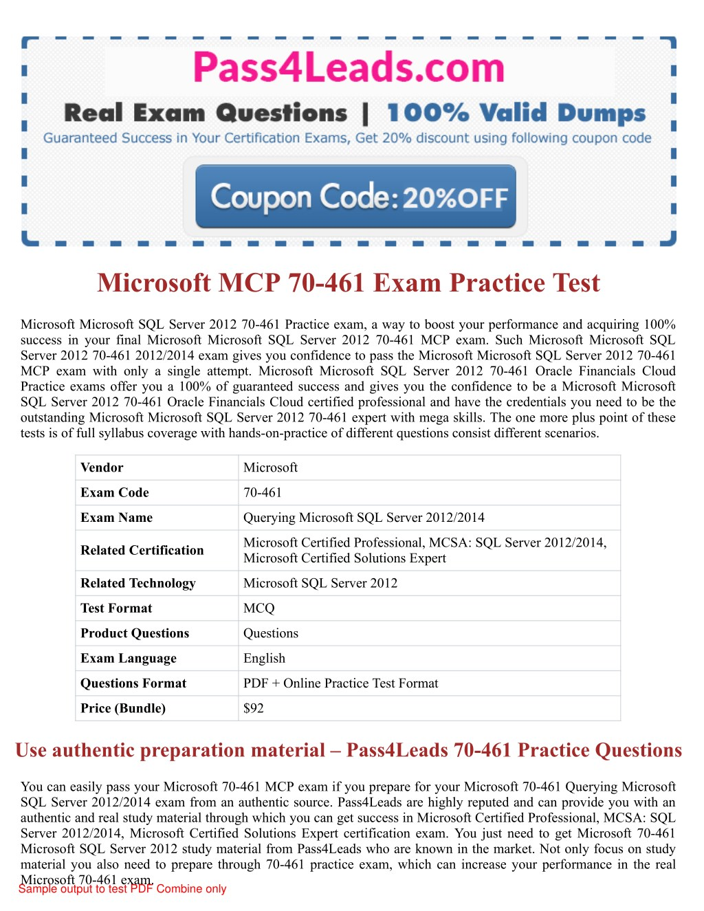 Ppt Microsoft 70 461 Exam Practice Questions 2018 Updated