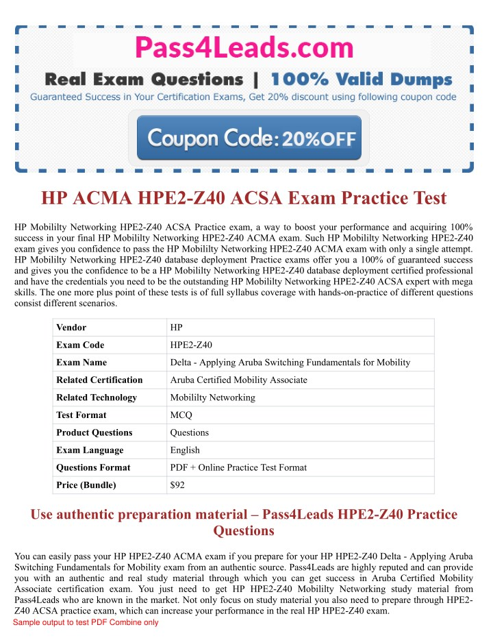 Ppt 2018 Updated Hpe2 Z40 Acma Exam Practice Questions Powerpoint