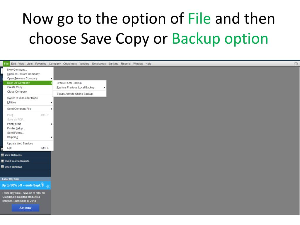 PPT - How to create backup of your quickbooks file