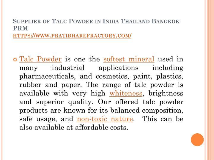 PPT - Supplier of Talc Powder in India Thailand Bangkok PRM