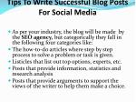 tips to write successful blog posts for social media
