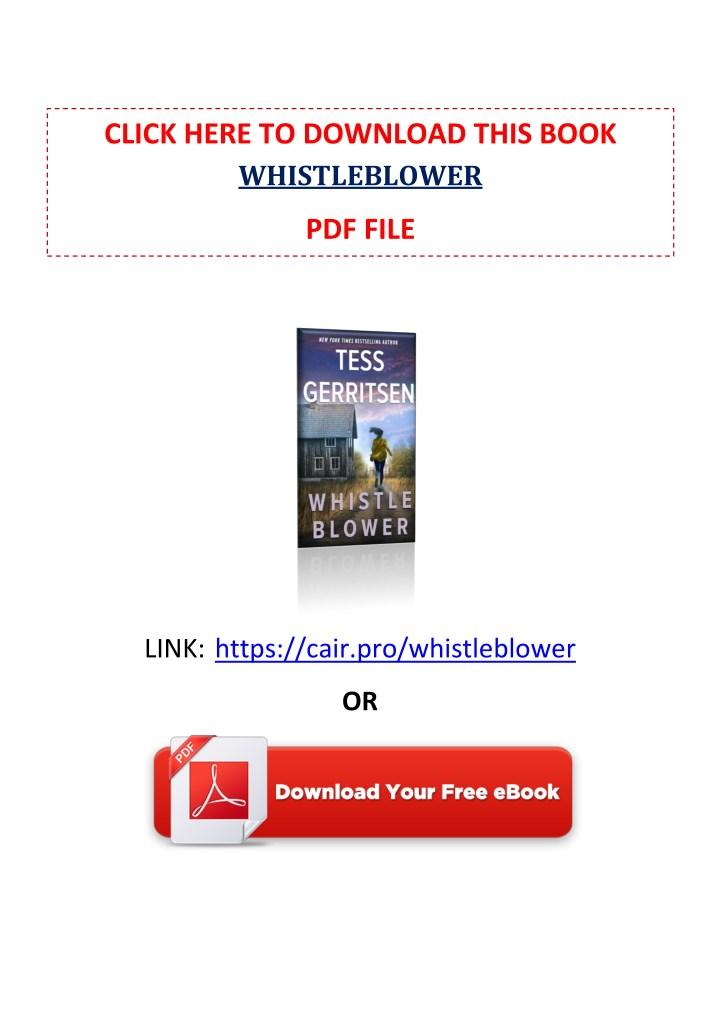 PPT - [PDF] Free Download Whistleblower By Tess Gerritsen
