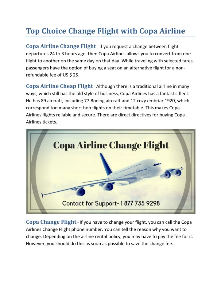 top choice change flight with copa airline n.