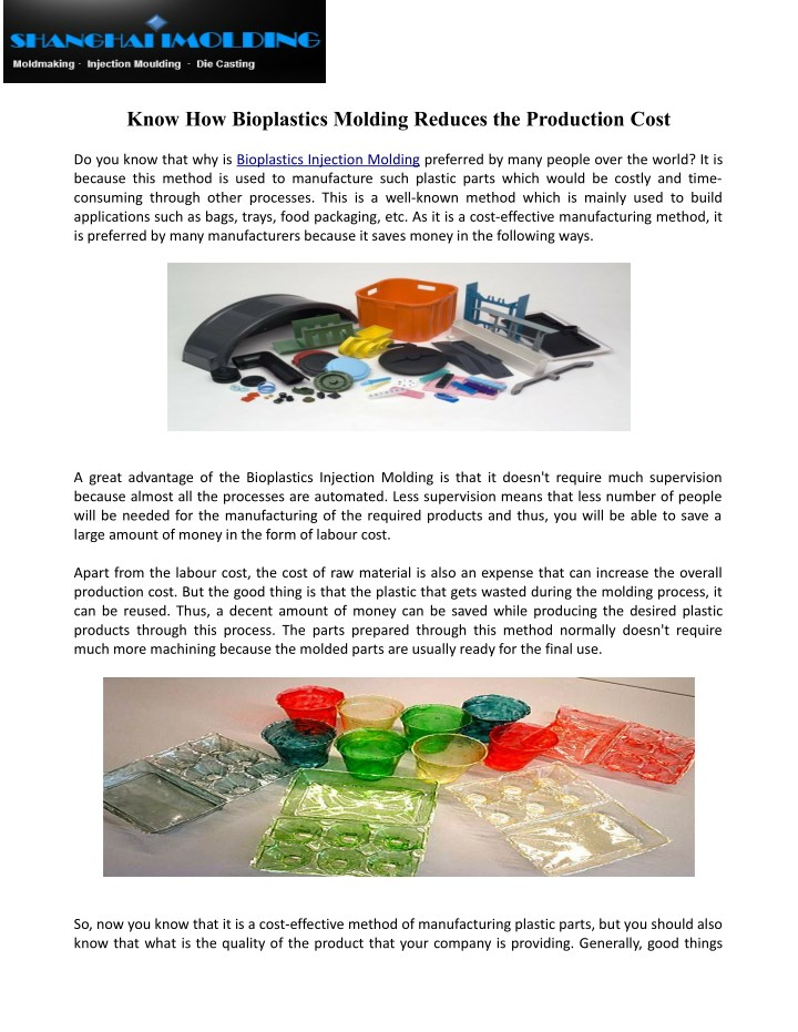 know how bioplastics molding reduces n.