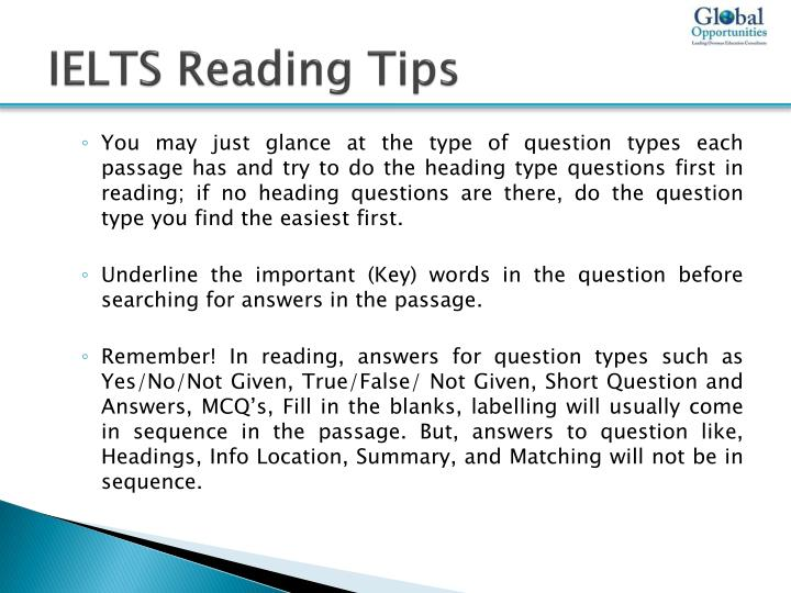 PPT - IELTS Reading Test Preparation Tips PowerPoint Presentation