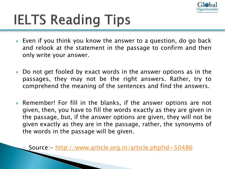 PPT - IELTS Reading Test Preparation Tips PowerPoint