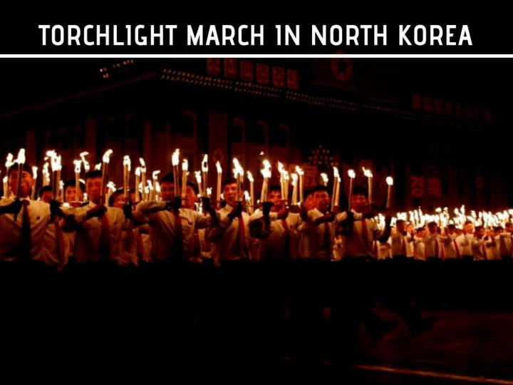 torchlight march in north korea n.