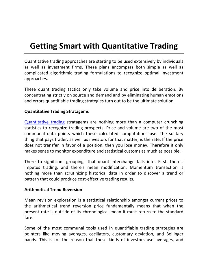 PPT - Getting Smart with Quantitative Trading PowerPoint