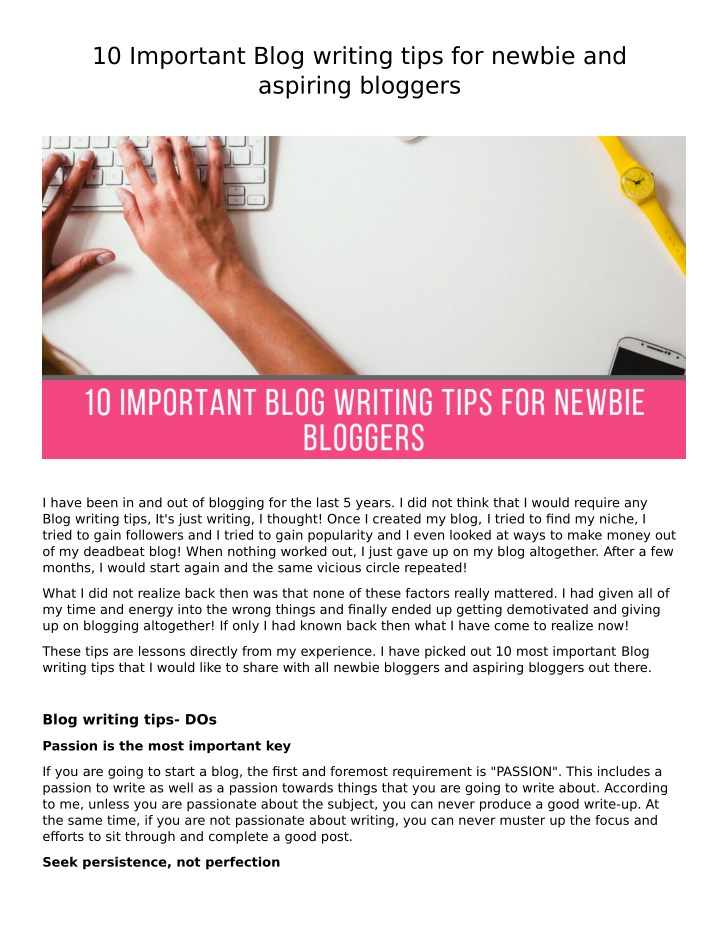 10 important blog writing tips for newbie n.