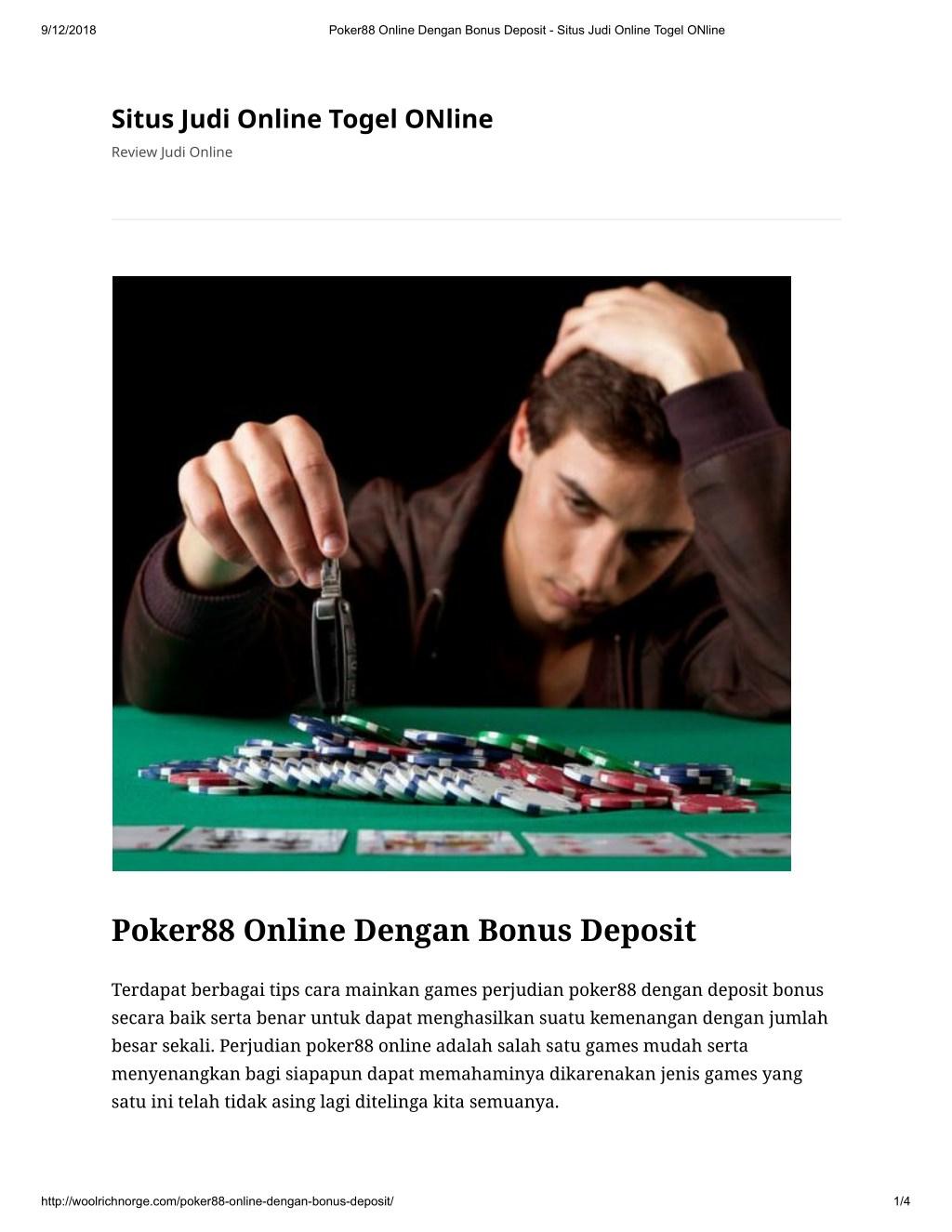 Ppt Poker88 Online Dengan Bonus Deposit Powerpoint Presentation Free Download Id 8004726