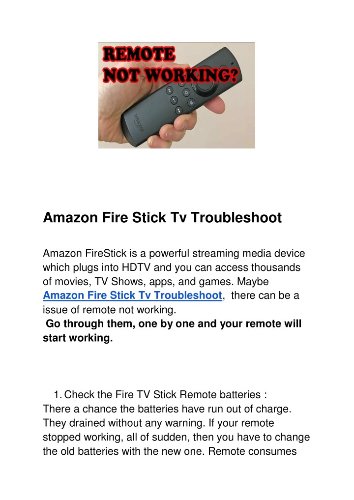 PPT - Amazon Fire Stick Tv Troubleshoot PowerPoint