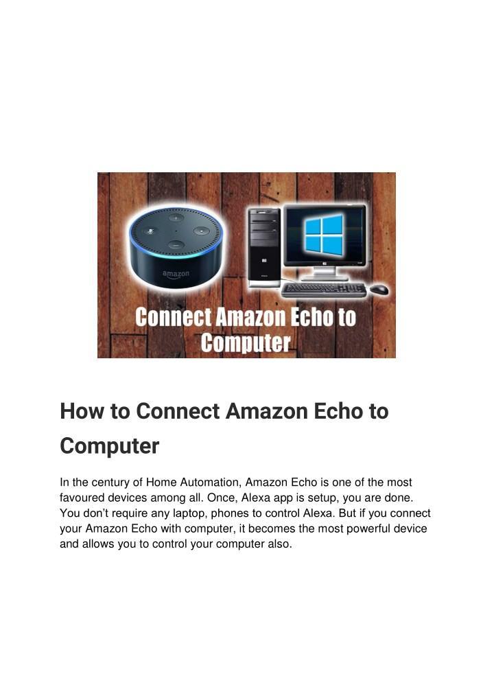 how to connect amazon echo to computer n.