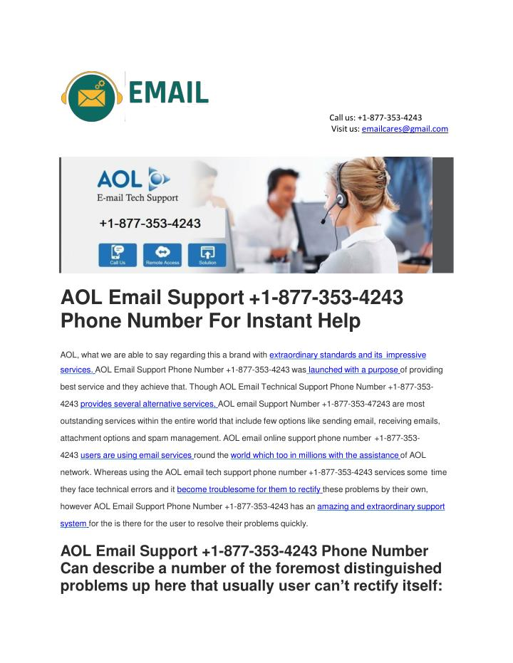 aol email support 1 877 353 4243 phone number for instant help n.