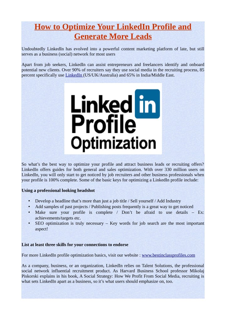 how to optimize your linkedin profile n.
