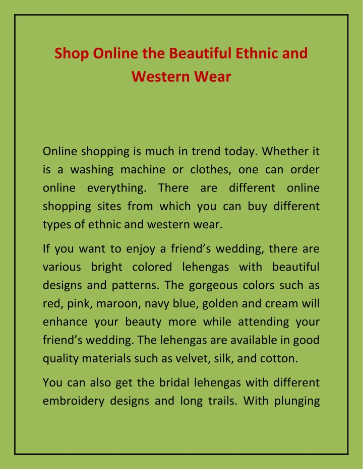 shop online the beautiful ethnic and western wear n.