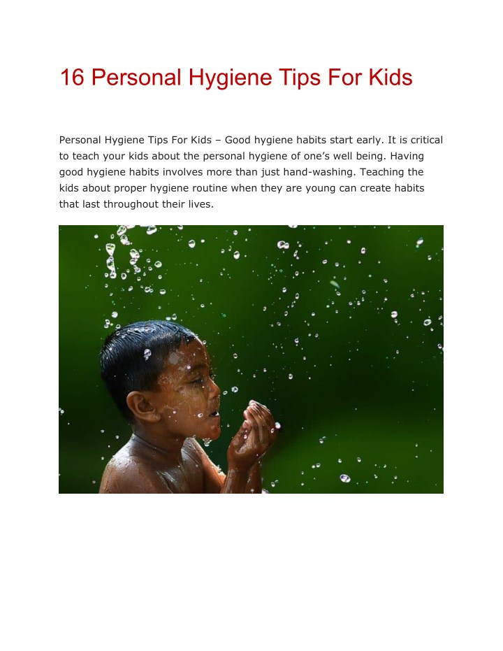 16 personal hygiene tips for kids n.