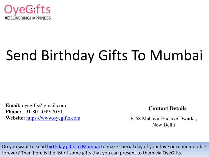 Send Birthday Gifts To Mumbai