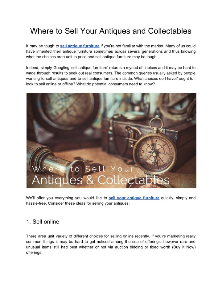 Where to Sell Your Antiques and Collectables - PPT - Where To Sell Your Antiques And Collectables PowerPoint