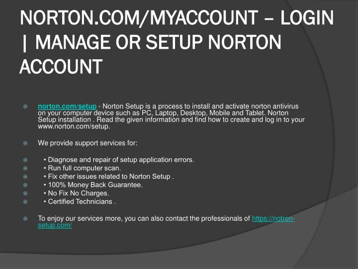 PPT - WWW,NORTON COM/SETUP MANAGE AND ACTIVATE ACCOUNT