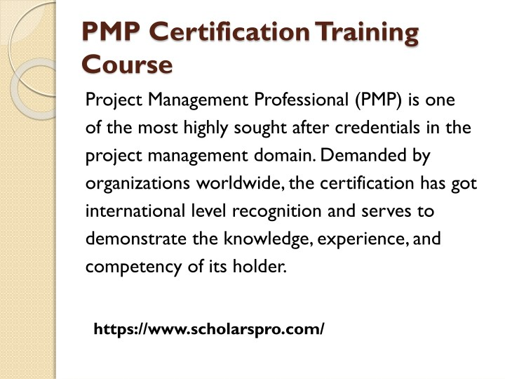 Ppt Pmp Training And Certification With Scholars Pro Powerpoint