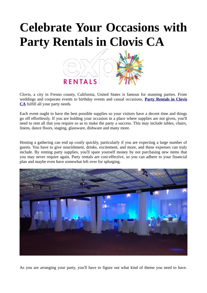 celebrate your occasions with party rentals n.