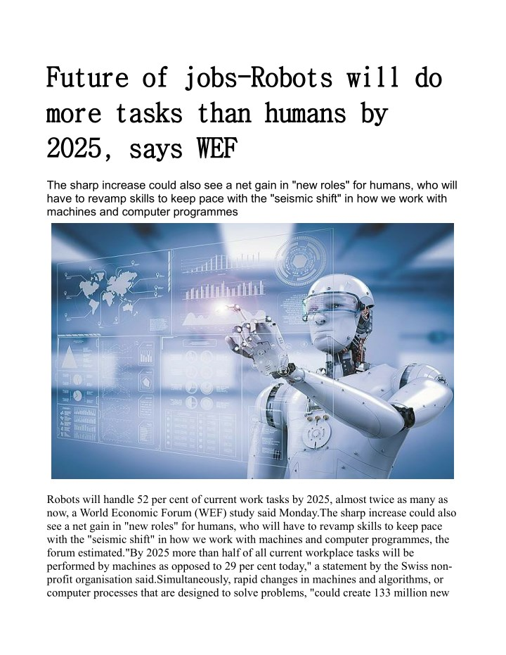 future of jobs robots will do future of jobs n.