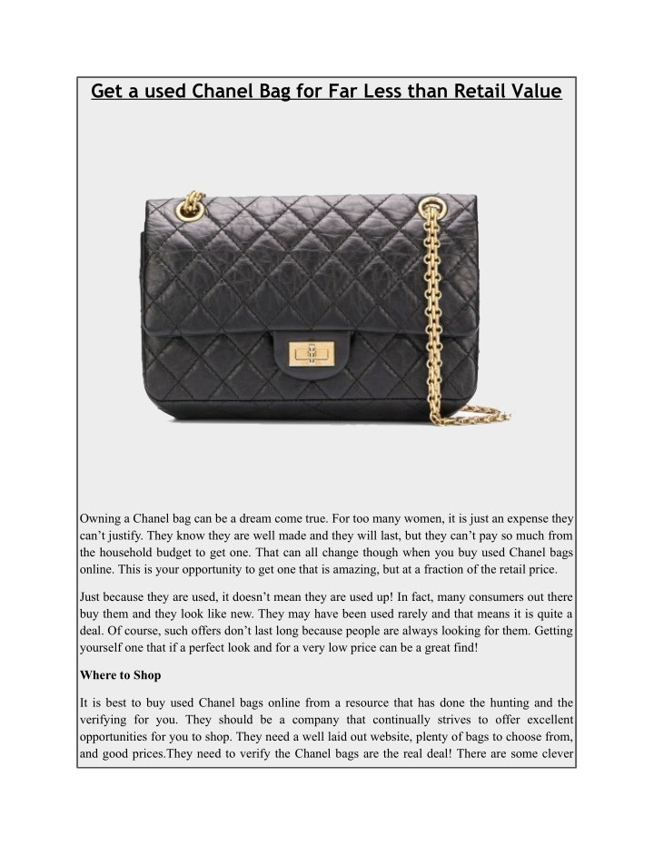 ad987c00f64 PPT - Get a used Chanel Bag for Far Less than Retail Value ...