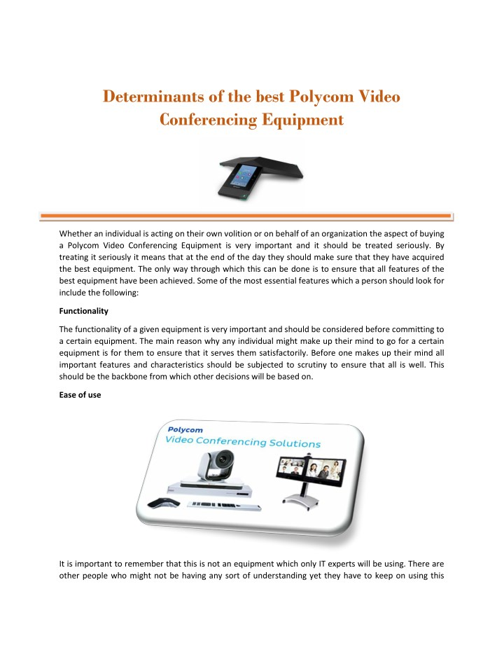 PPT - Determinants of the best Polycom Video Conferencing Equipment
