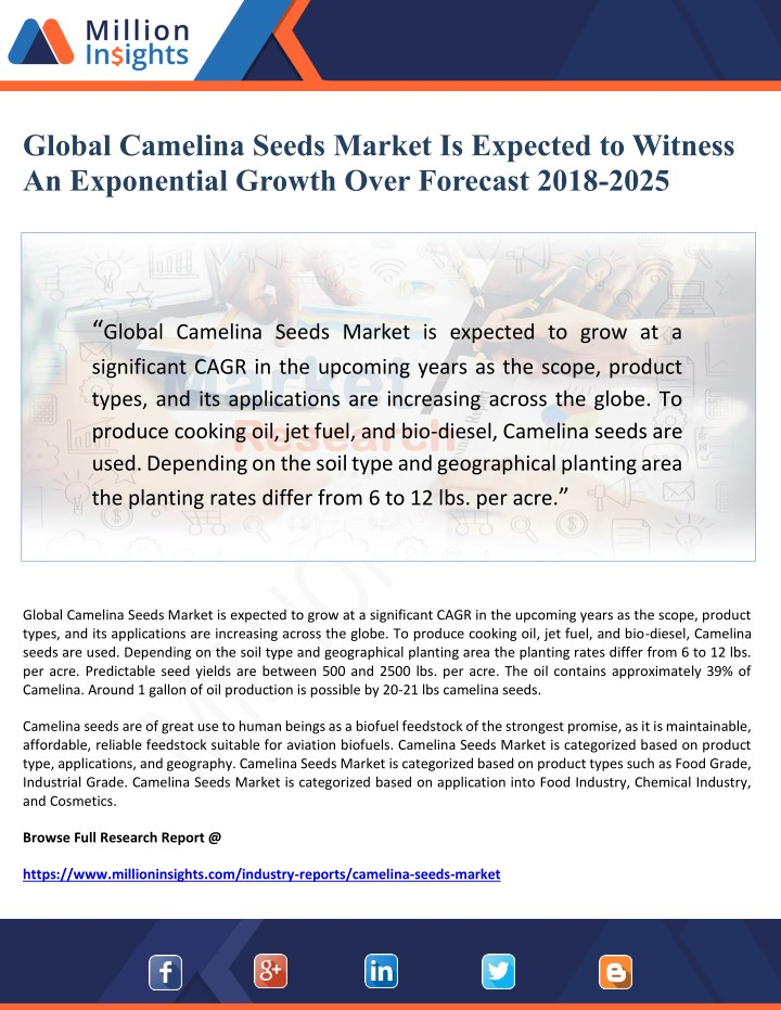 global camelina seeds market is expected n.