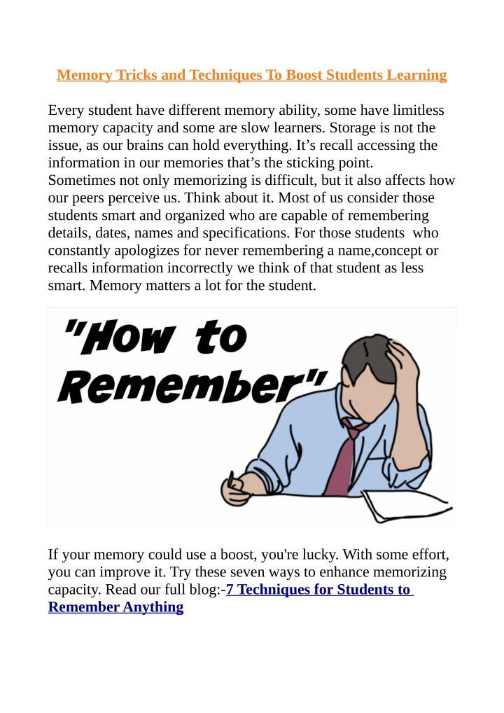 memory tricks and techniques to boost students n.