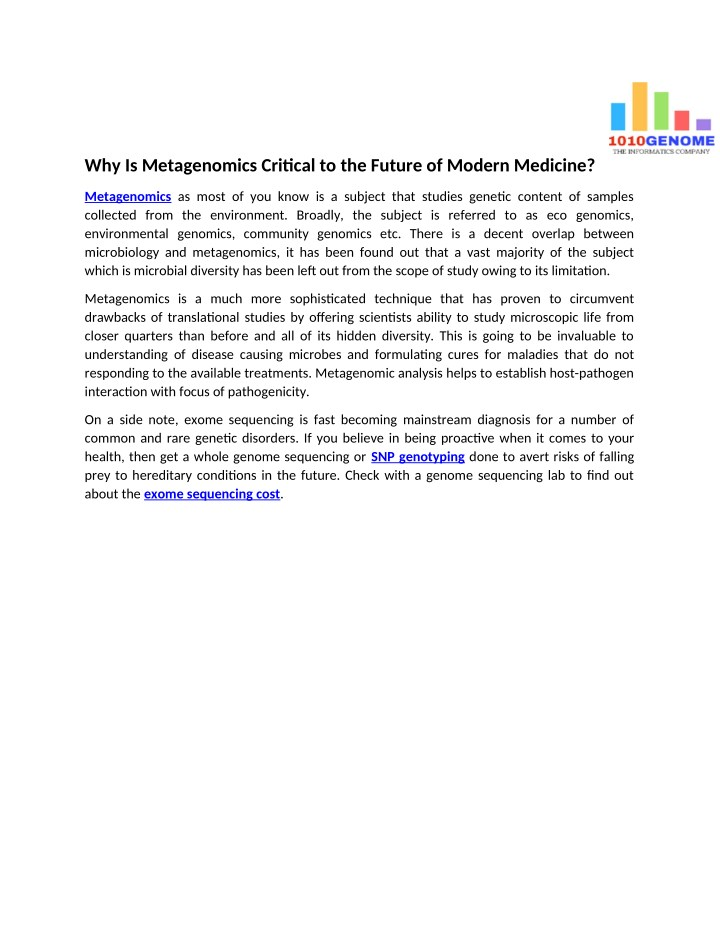 why is metagenomics critical to the future n.