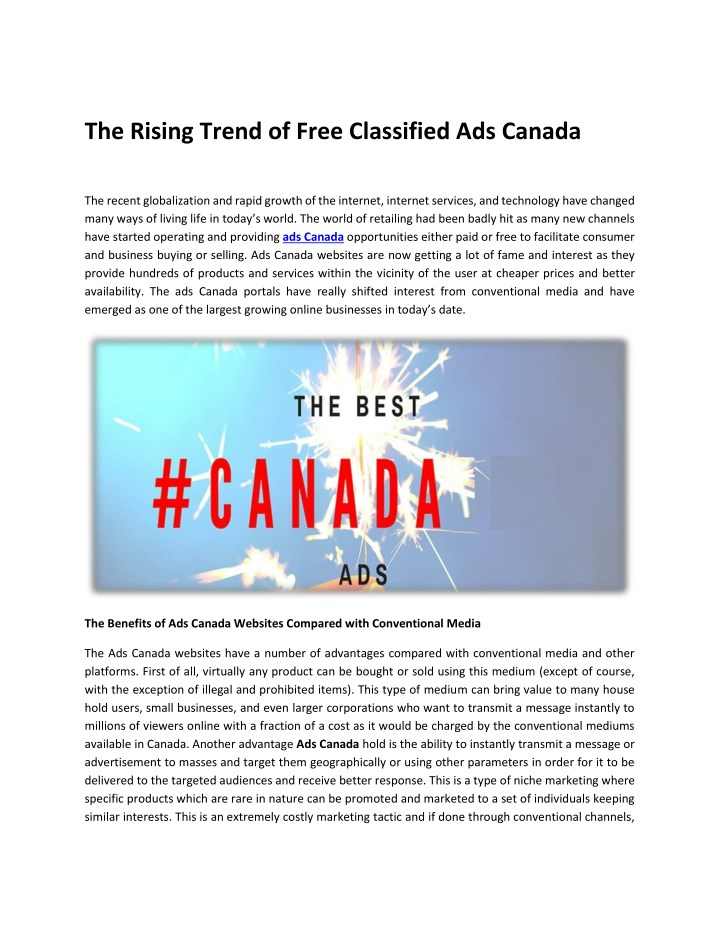 the rising trend of free classified ads canada n.