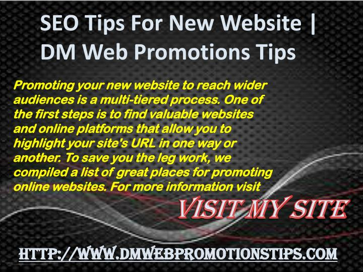 seo tips for new website dm web promotions tips n.