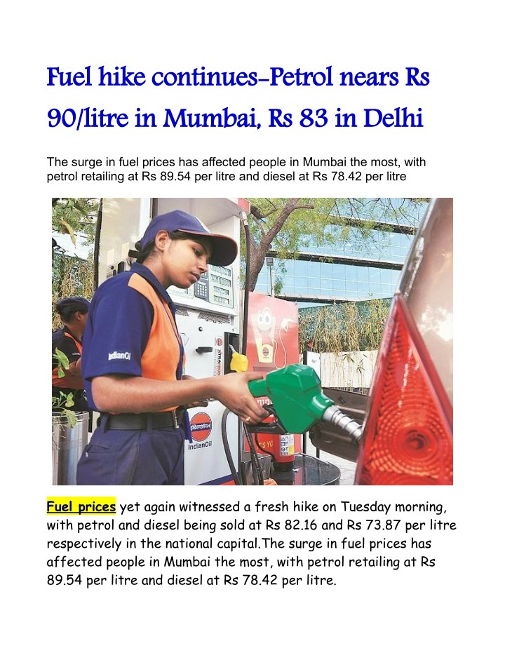 fuel hike continues petrol nears rs 90 litre n.