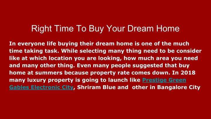 right time to buy your dream home n.