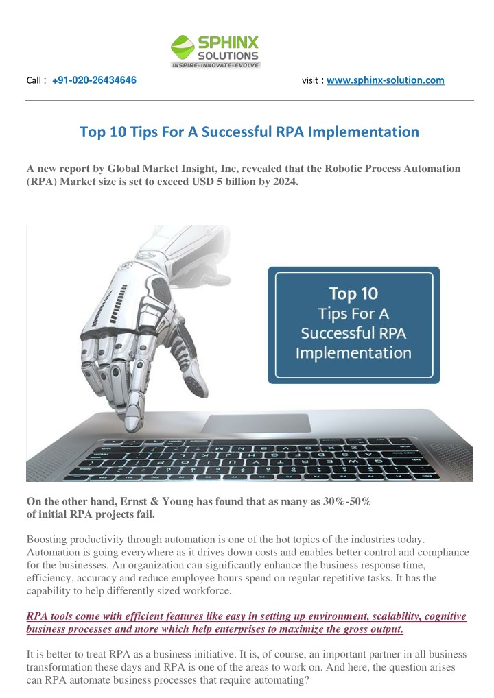 PPT - Top 10 Tips For A Successful RPA Implementation