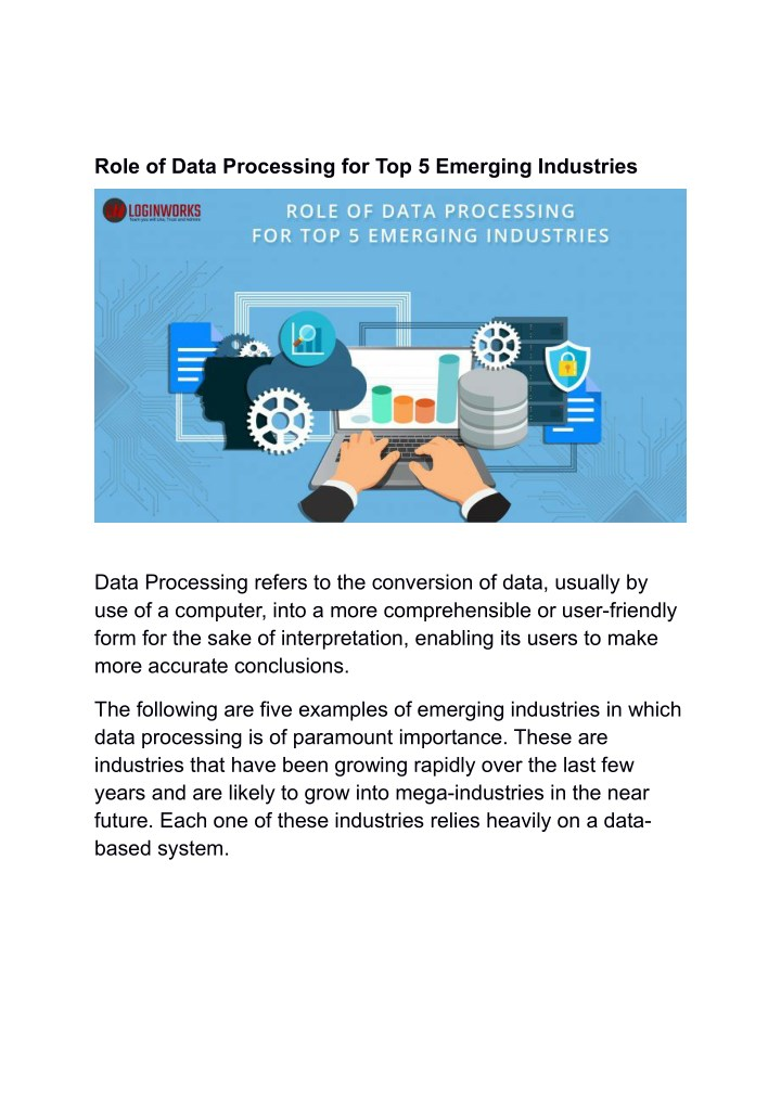 role of data processing for top 5 emerging n.