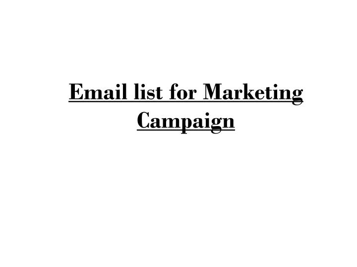 email list for marketing campaign n.