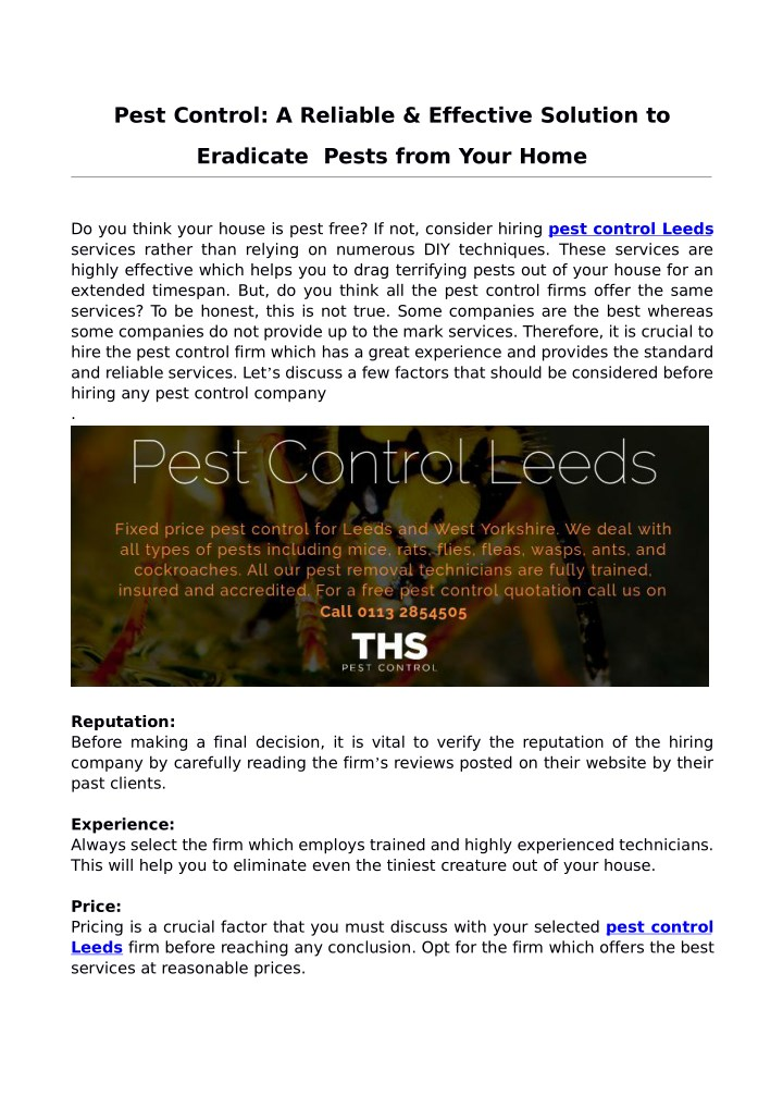 pest control a reliable effective solution to n.