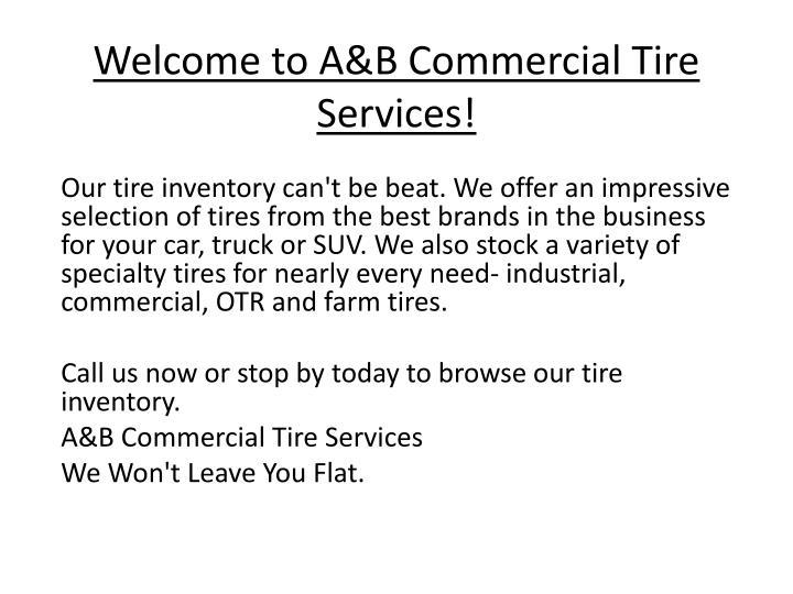 welcome to a b commercial tire services n.