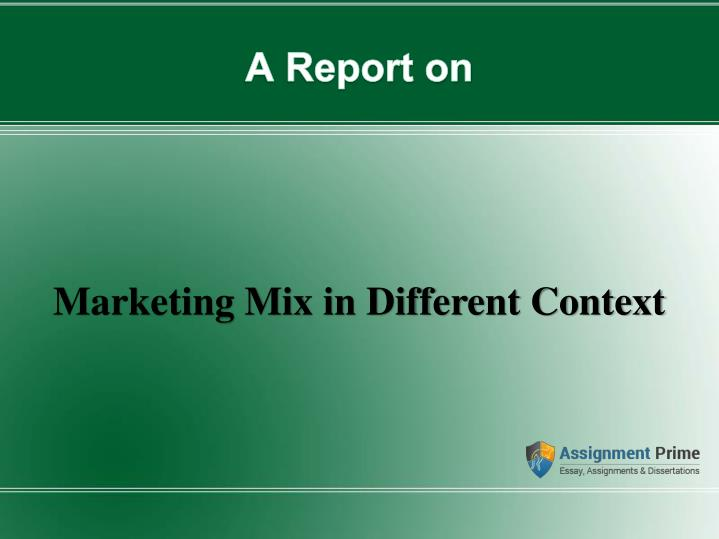 marketing mix in different context n.