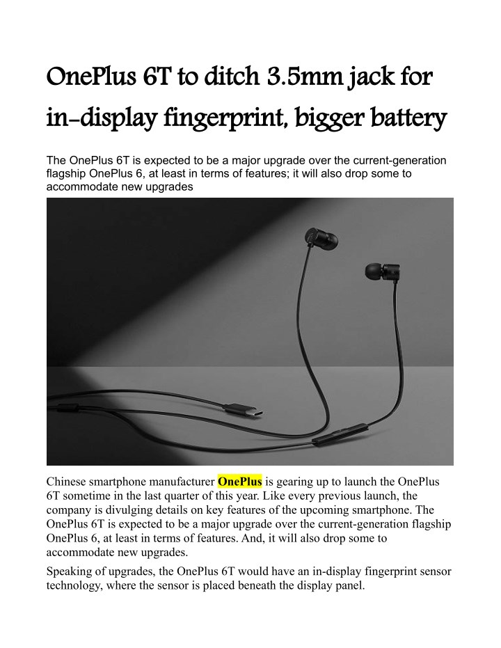 oneplus 6t to ditch 3 5mm jack for in display n.